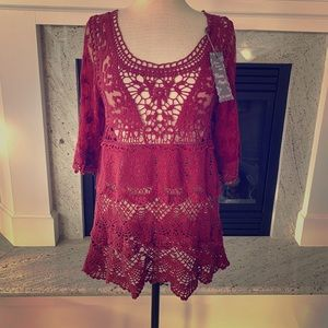 New Pretty angel dark red crochet lace up top S